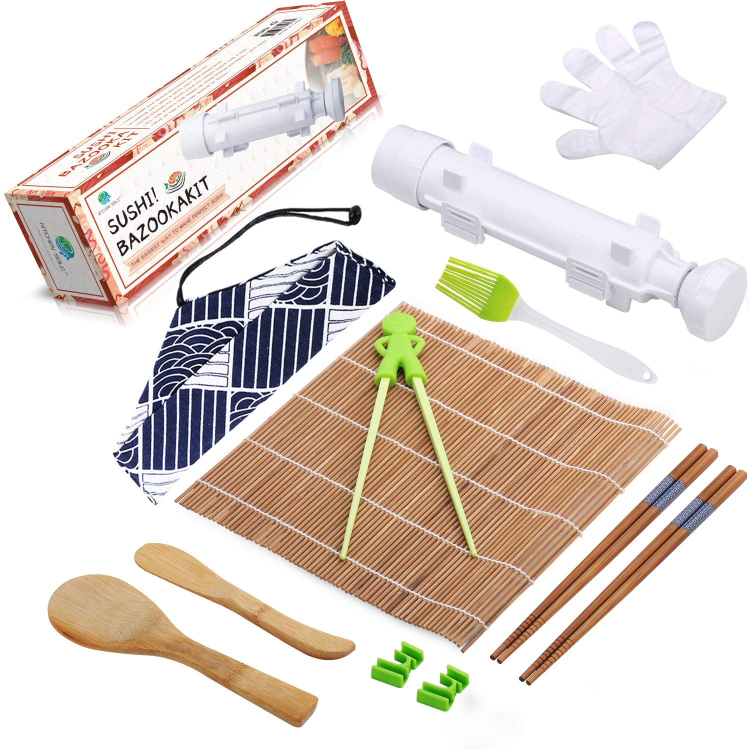 Beginner Sushi Making Kit - All In One Sushi Bazooka Maker with Bamboo Mats, Training Chopsticks with Helper, Paddle, Spreader, Silicone Brush, Disposable Gloves and Cotton Bag - Gift Box
