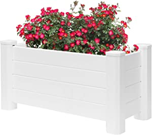 Gardenised White Vinyl Traditional Fence Design Garden Bed Elevated Screwless Raised Planter Box, 15.75 x 35.5 (QI003740.B)