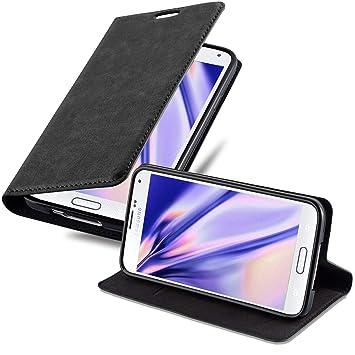 Cadorabo Funda Libro para Samsung Galaxy S5 / S5 Neo en Negro Antracita – Cubierta Proteccíon con Cierre Magnético, Tarjetero y Función de Suporte – ...