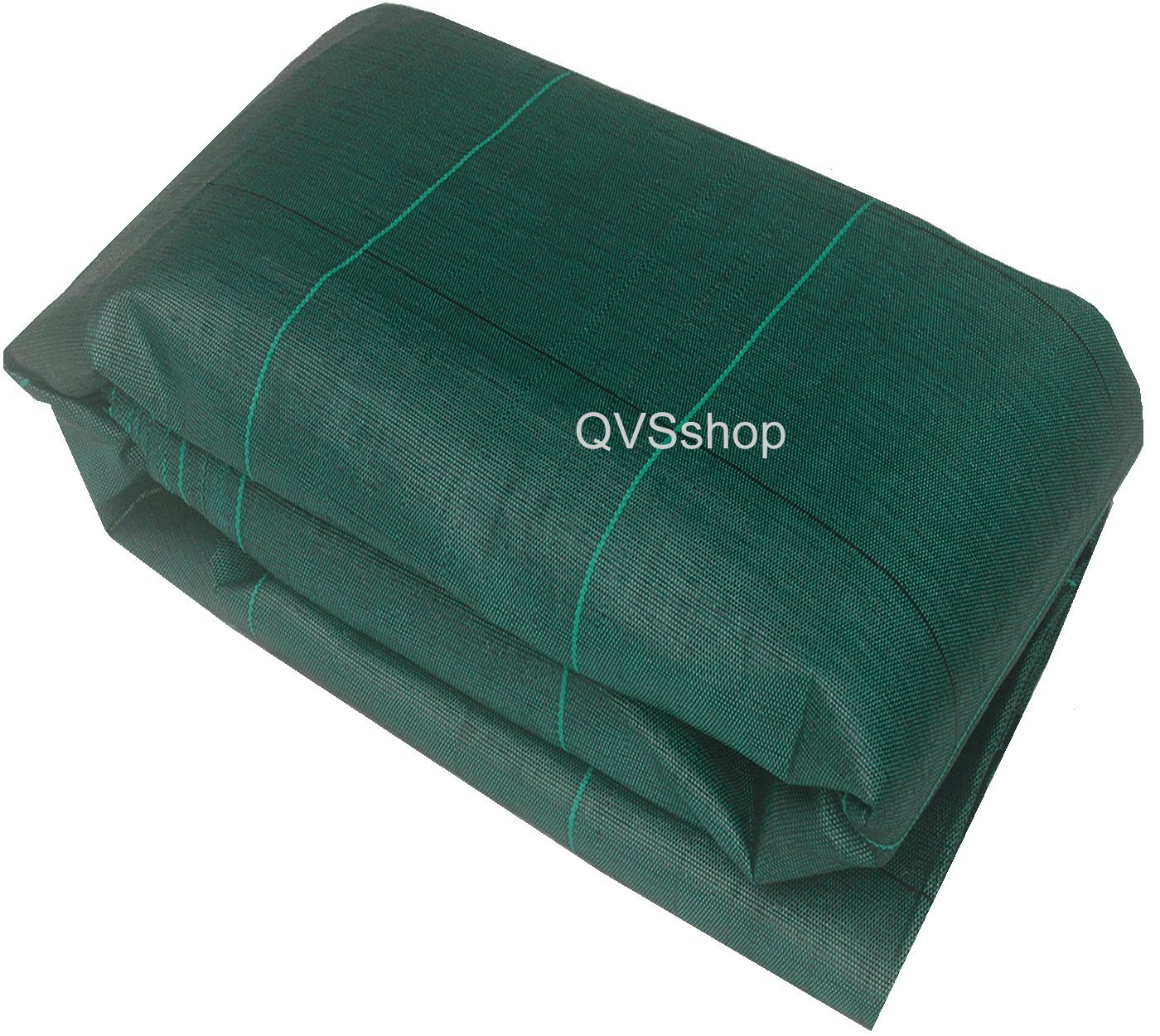 QVS Shop 4M X 10M Green 125gsm Weed Control Fabric With 24 Plastic Pegs