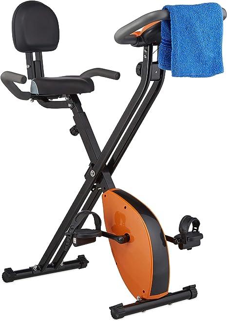 Relaxdays Bicicleta Estática Plegable con Respaldo, Fitness, Negro ...