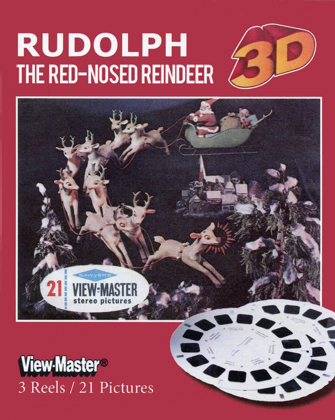 Classic ViewMaster - Rudolph the Red-Nosed Reindeer - 3 Reels on Card- NEW by 3Dstereo ViewMaster