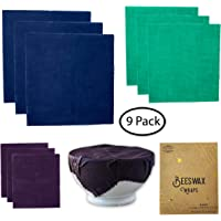 Beeswax Food Wrap: 9 Pack Organic Reusable Cotton Bees Wax Wraps, Eco-Friendly, Sustainable, Zero Waste, No Plastic, Biodegradable Natural Alternative Food Storage, 3 Large, 3 Medium, 3 Small