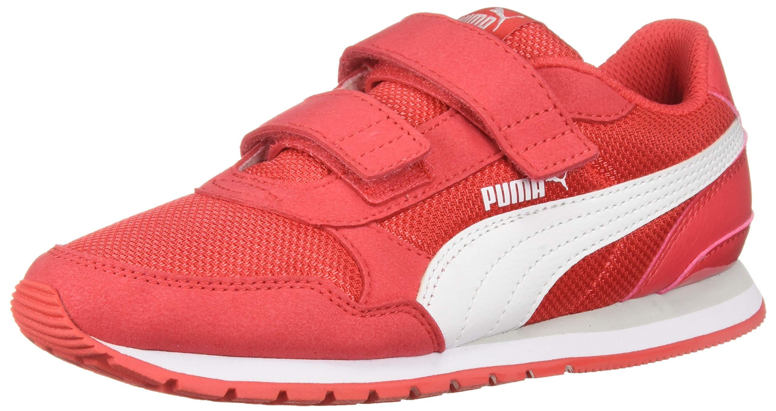 PUMA ST Runner Velcro Sneaker hibiscus - white-gray violet 10.5 M US Little Kid