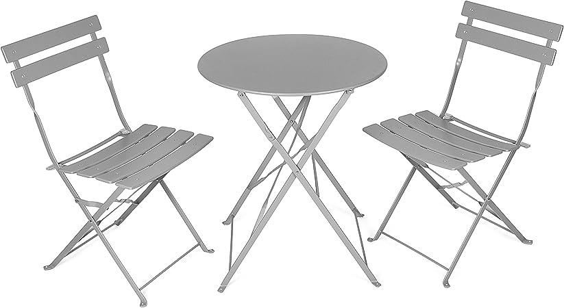 Vanage Table Bistro avec chaises Table et chaises pliantes Salon de jardin 3 pièces Parfait pour Balcon, Terasse et Jardin Design intemporel