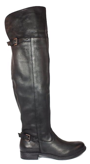 Overknee Stiefel Leder Schwarz 37