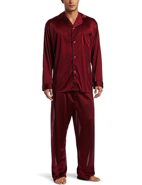 Intimo Hombres de tricot conjunto de pijama de viaje - Rojo -