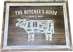 The Butcher's Guide Cuts of Beef Large Size Vintage Style Wood Plaque Sign for Kitchen, Wall,Farmhouse,Grill Area, BBQ Yard, Wall Art Decor Wood Plaque Framed Country Kitchen Wall Decor, 23