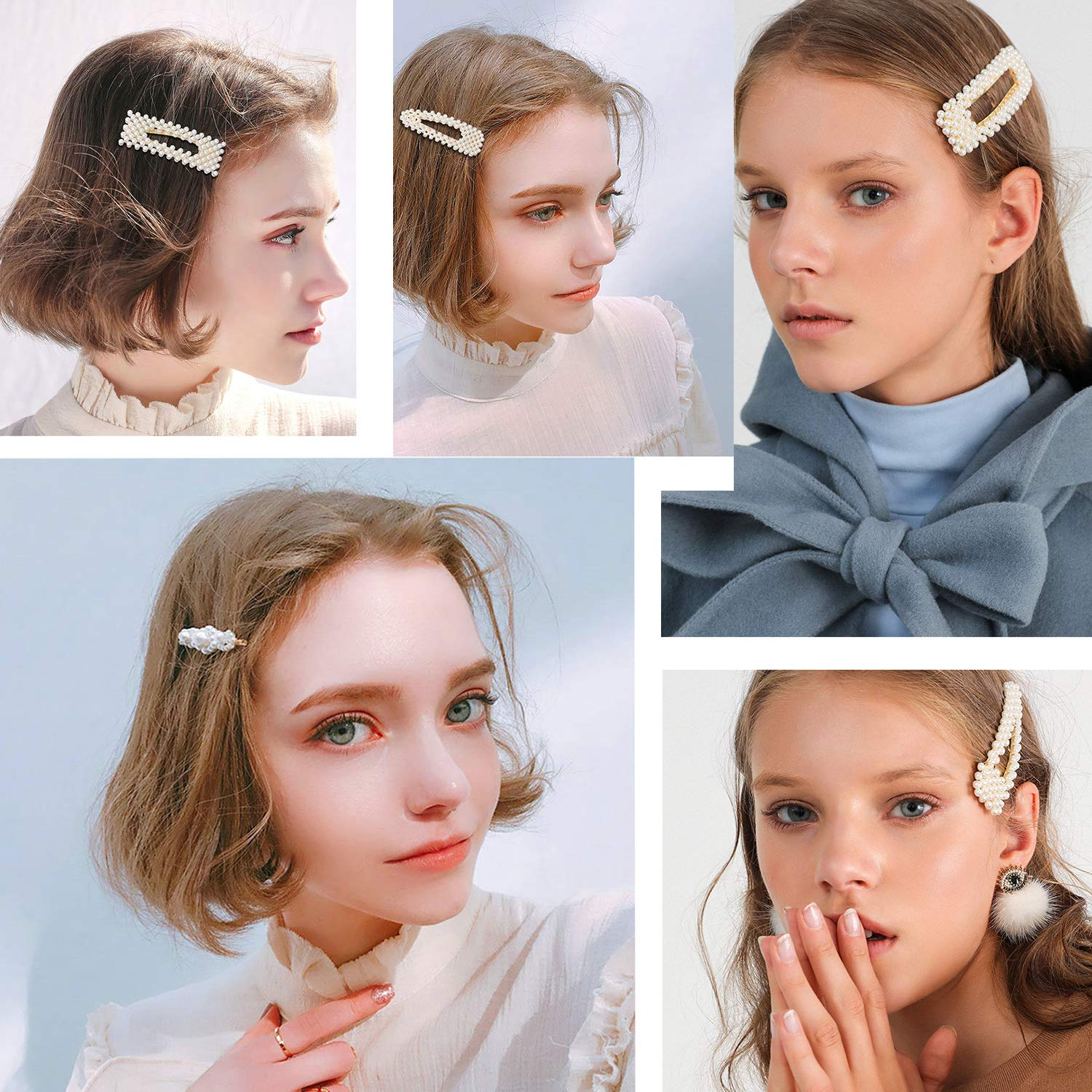 Pearls Hair Clips for Women Girls Teens Blonde - 9 Pcs Large Thick Thin Hair Barrette Accessories Set Bows Claw Pins Headpiece Hairpins Headwear for Wedding Bridal Bridesmaid Prom Gift - Gold & Silver