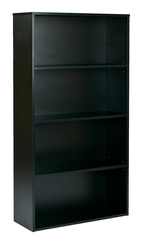 Pro-Line II / OSP Designs Prado 4-Shelf Bookcase with 3/4-Inch Shelves and 2 Adjustable/2 Fixed Shelves, 60-Inch, Black