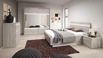 Agreable Chambre à Coucher Complète Montreal Scandinave Lit 160x200, Tables De Nuit  Et Commode