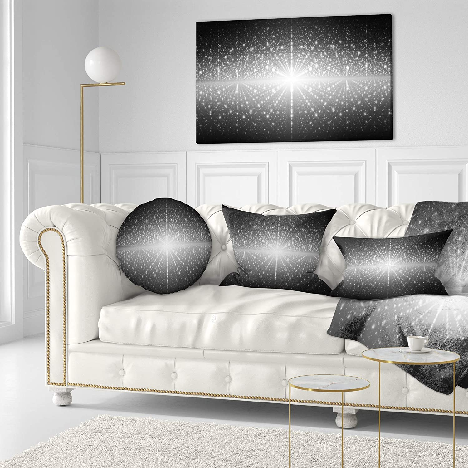 Designart CU16536-16-16-C Cosmic Galaxy with Shining Stars Abstract Round Cushion Cover for Living Room Sofa Throw Pillow 16 Inches
