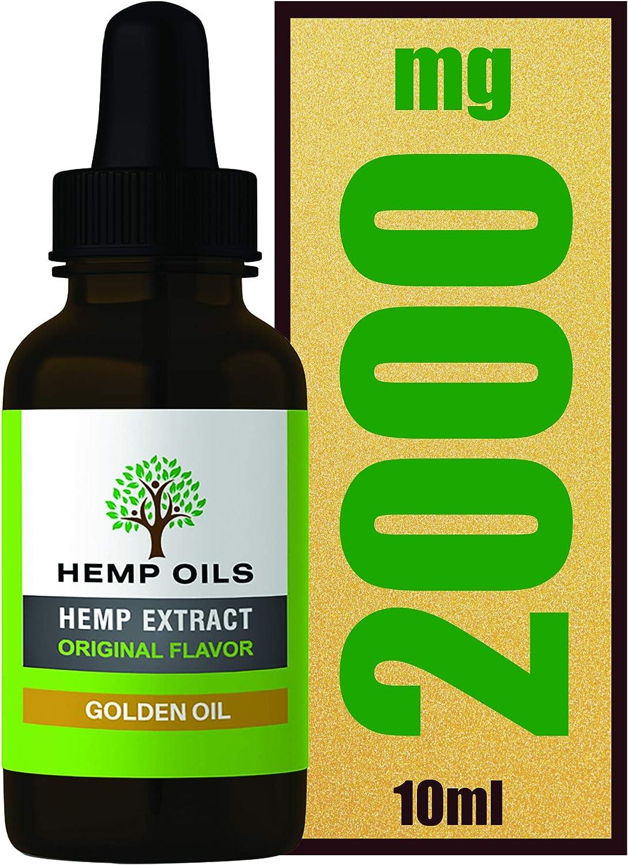 20% 2000 mg (dorado) aceite de cáñamo – Botella de 10 ml – Aceite de cáñamo de alta resistencia – Extracción de CO2