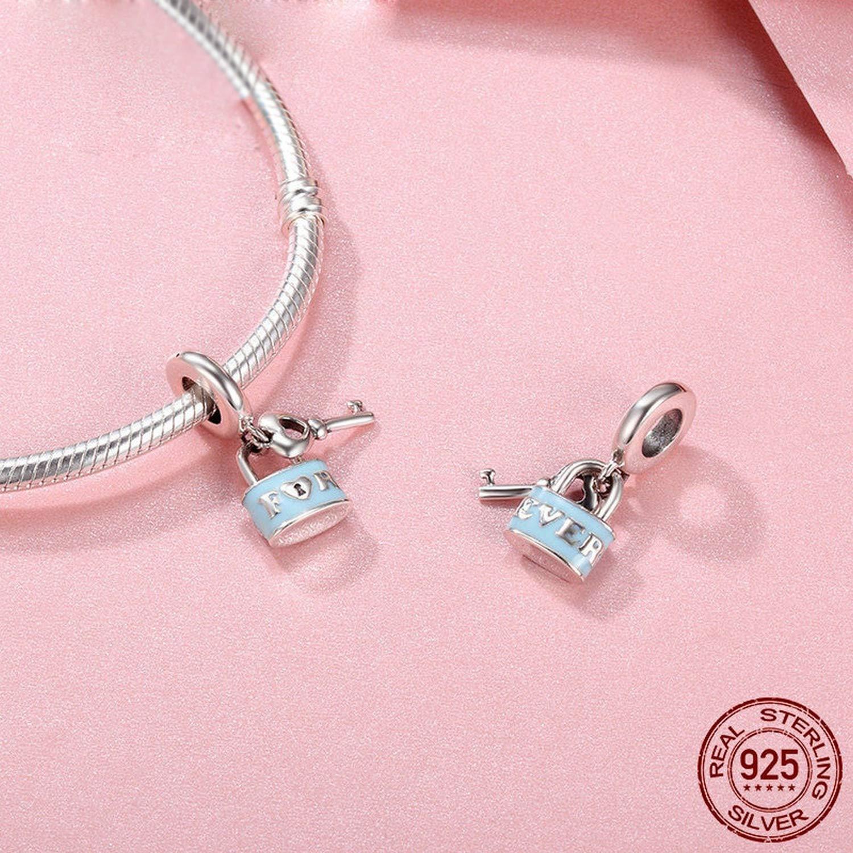EverReena Beads Promise of Love Lock /& Love Key for Silver Bracelets
