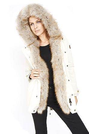 Dakota - Mujer Esquimal Fox - Parka Hood Abrigo de Piel sintética Invierno 2018 Chaqueta de Moda Chaqueta: Amazon.es: Ropa y accesorios