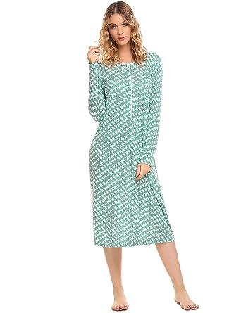 3d9dc9694b Ekouaer Women s Cotton Knit Nightgown Long Sleeve Sleep Dress Lounge ...