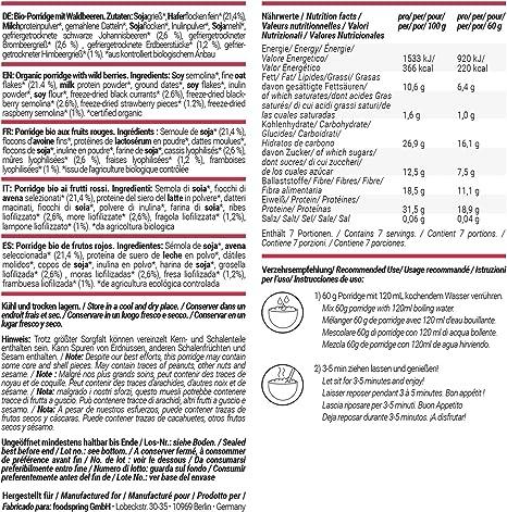 foodspring Porridge Proteico, Frutas Del Bosque, 3 x 420g ...