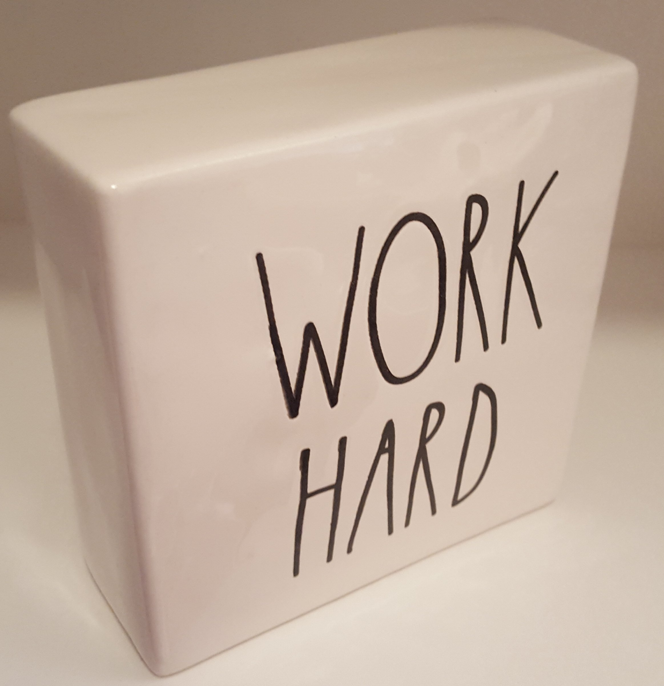 Rae Dunn WORK HARD/BE BRAVE LL Decorative Paperweight Desk Office Square