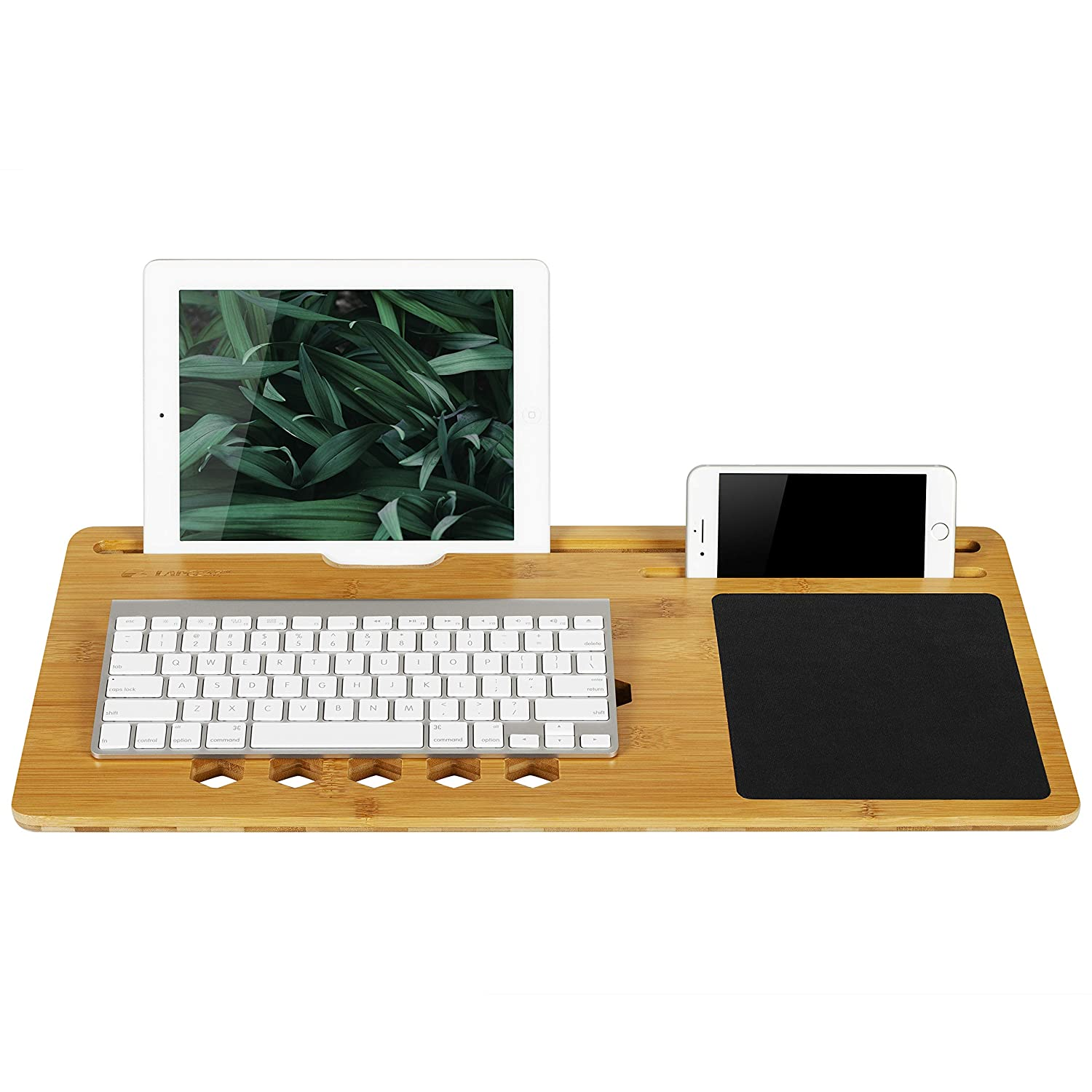 LapGear BamBoard Lap Desk with Phone or Tablet Holder - Natural Bamboo - Fits up to 15.6 Inch Laptops and Most Tablets - Style No. 77001