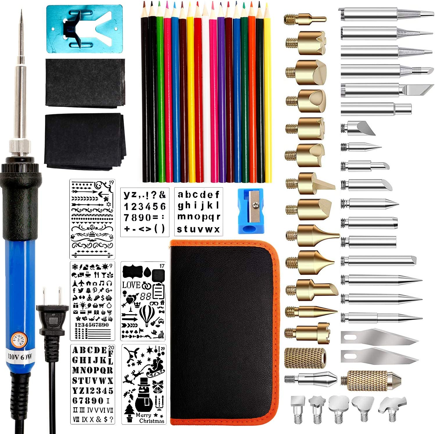 78PCS Wood Burning Kit, Pyrography Set with Adjustable Temperature Wood Burning Pen for Wood Burning/Carving/Embossing/Soldering - Soldering Tips + Stencil + Stand + Carrying Case
