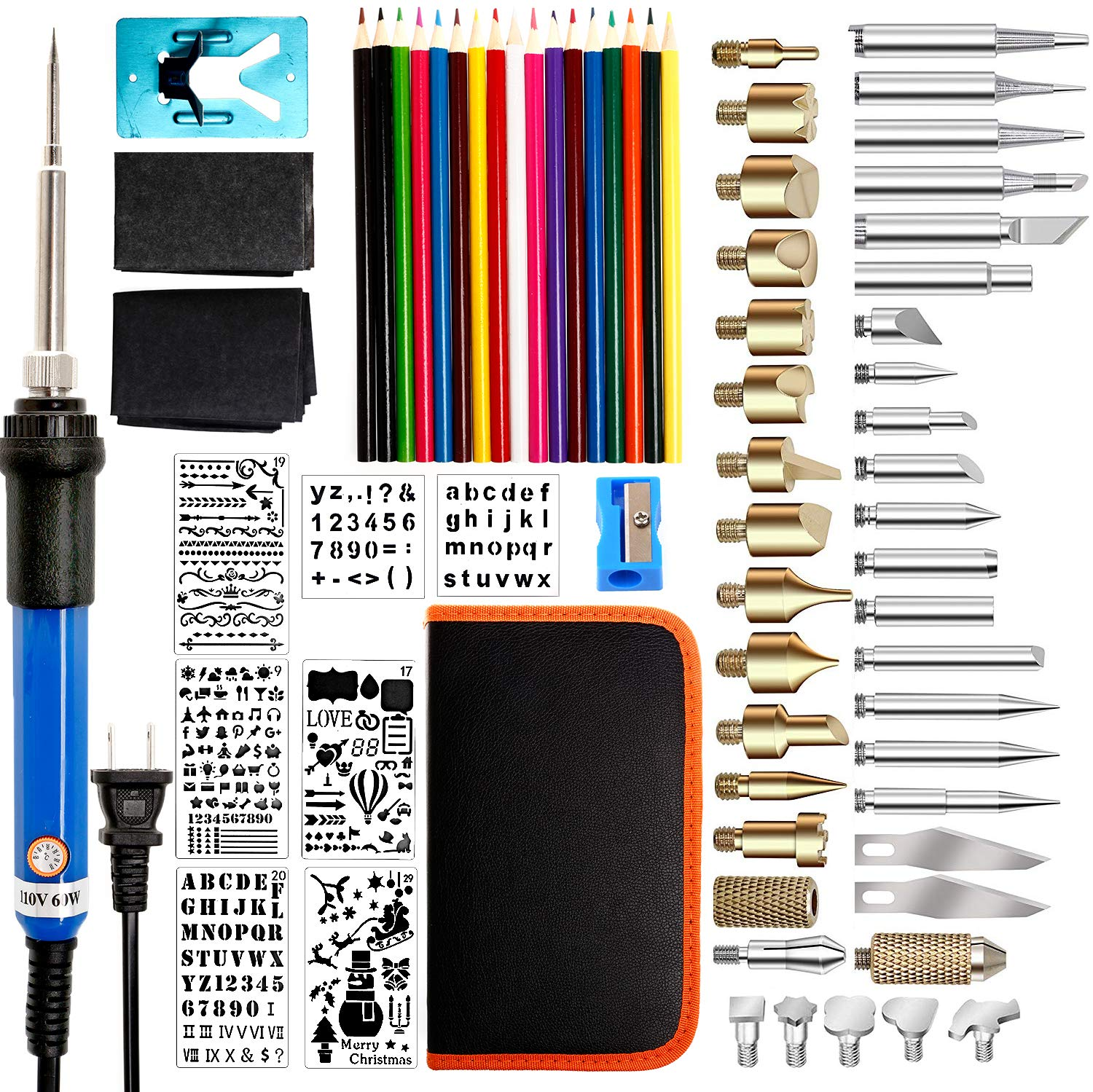 72PCS Wood Burning Kit, Pyrography Set with Adjustable Temperature Pyrography Pen for Wood Burning/Carving/Embossing/Soldering - Soldering Tips + Stencil + Stand + Carrying Case