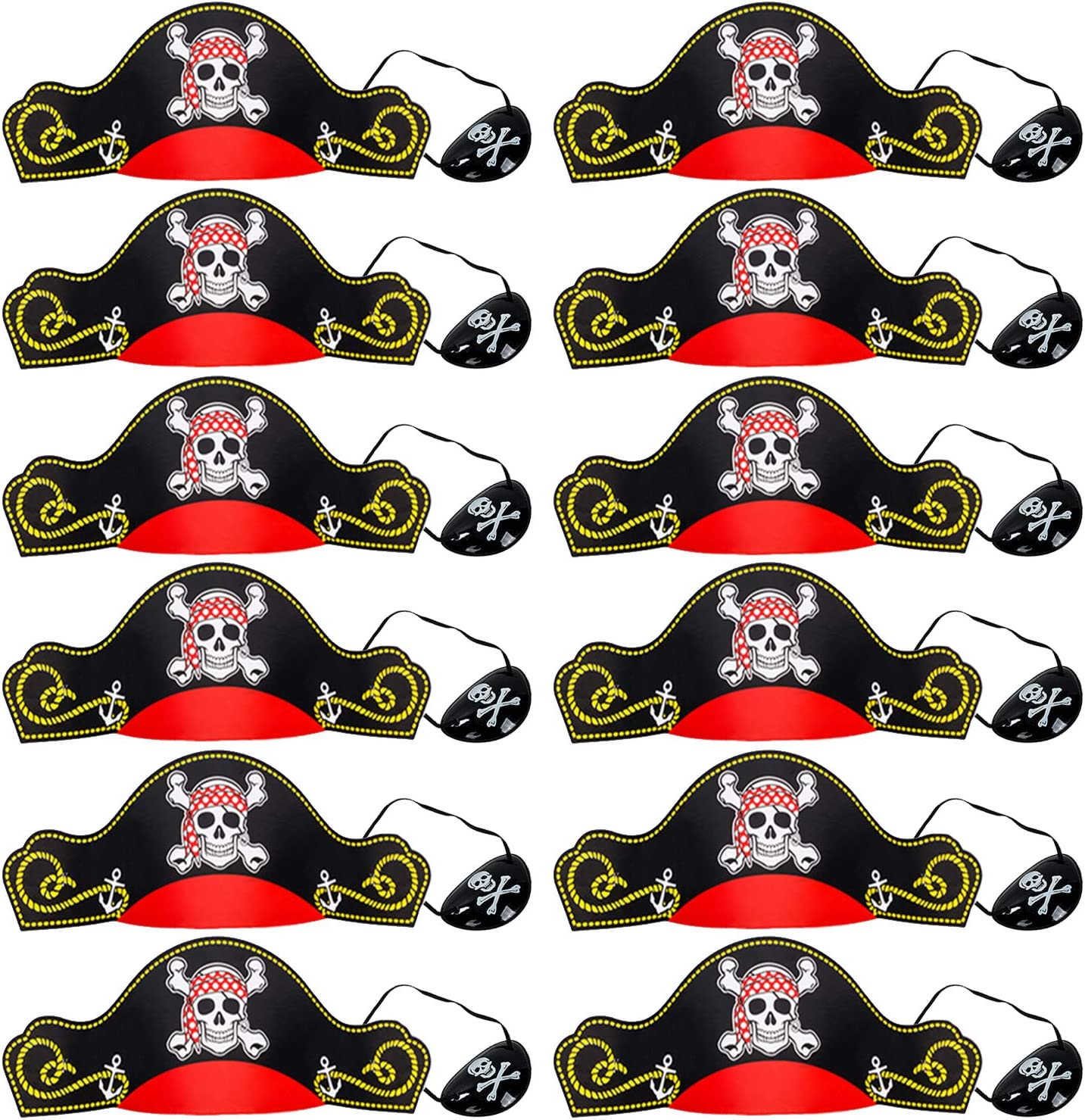 Pirate Party Supplies for Kids - Pirate Hats, Eye Patches, Party Favors - Pirate Party Decorations by Tigerdoe (12 Pirate Hats & 12 Pirate Eye Patches)