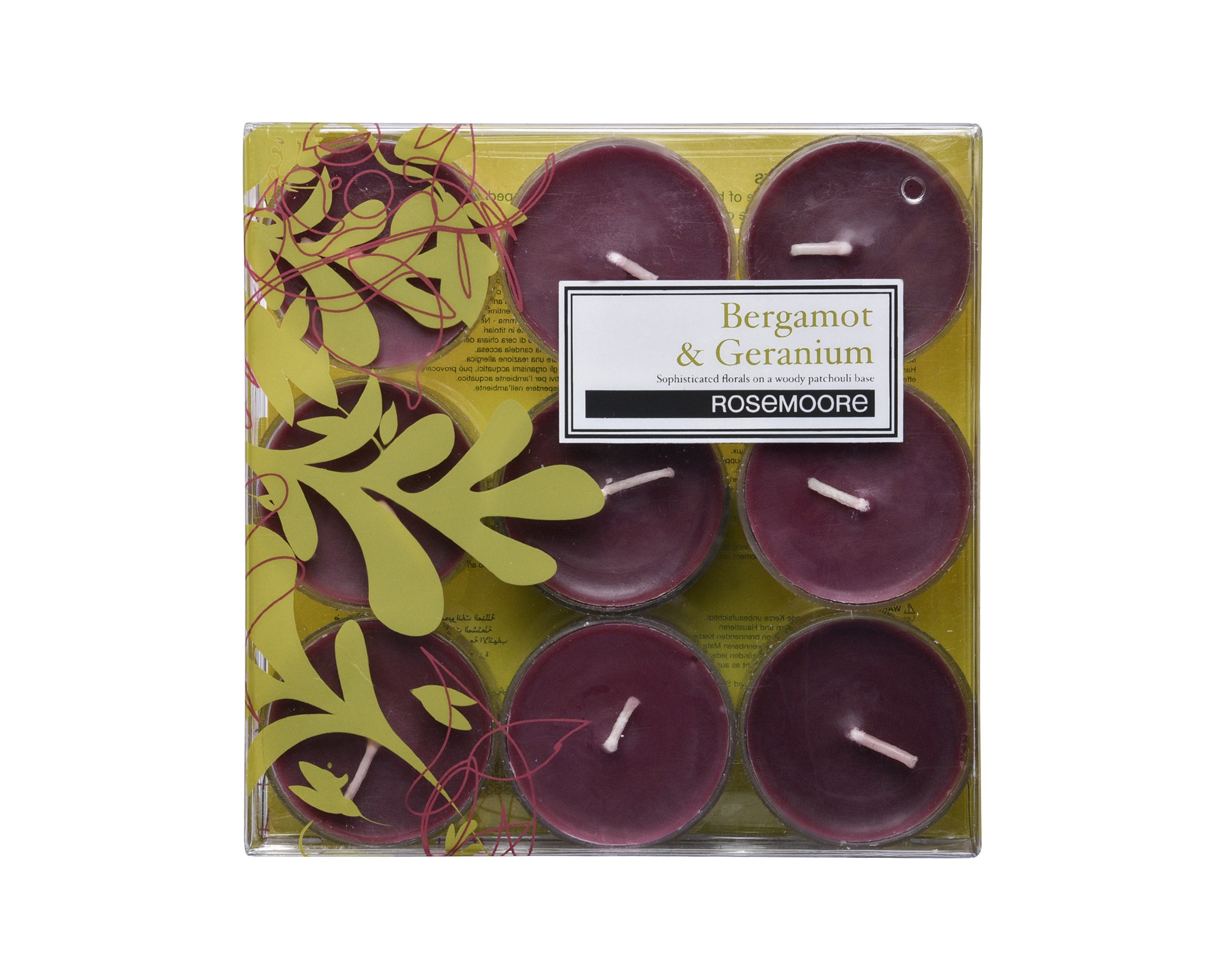 Rosemoore Green Bergamot & Geranium Scented Tea Lights For Living Room, Washroom, Bedroom, Office by Rose and Moore (Image #1)