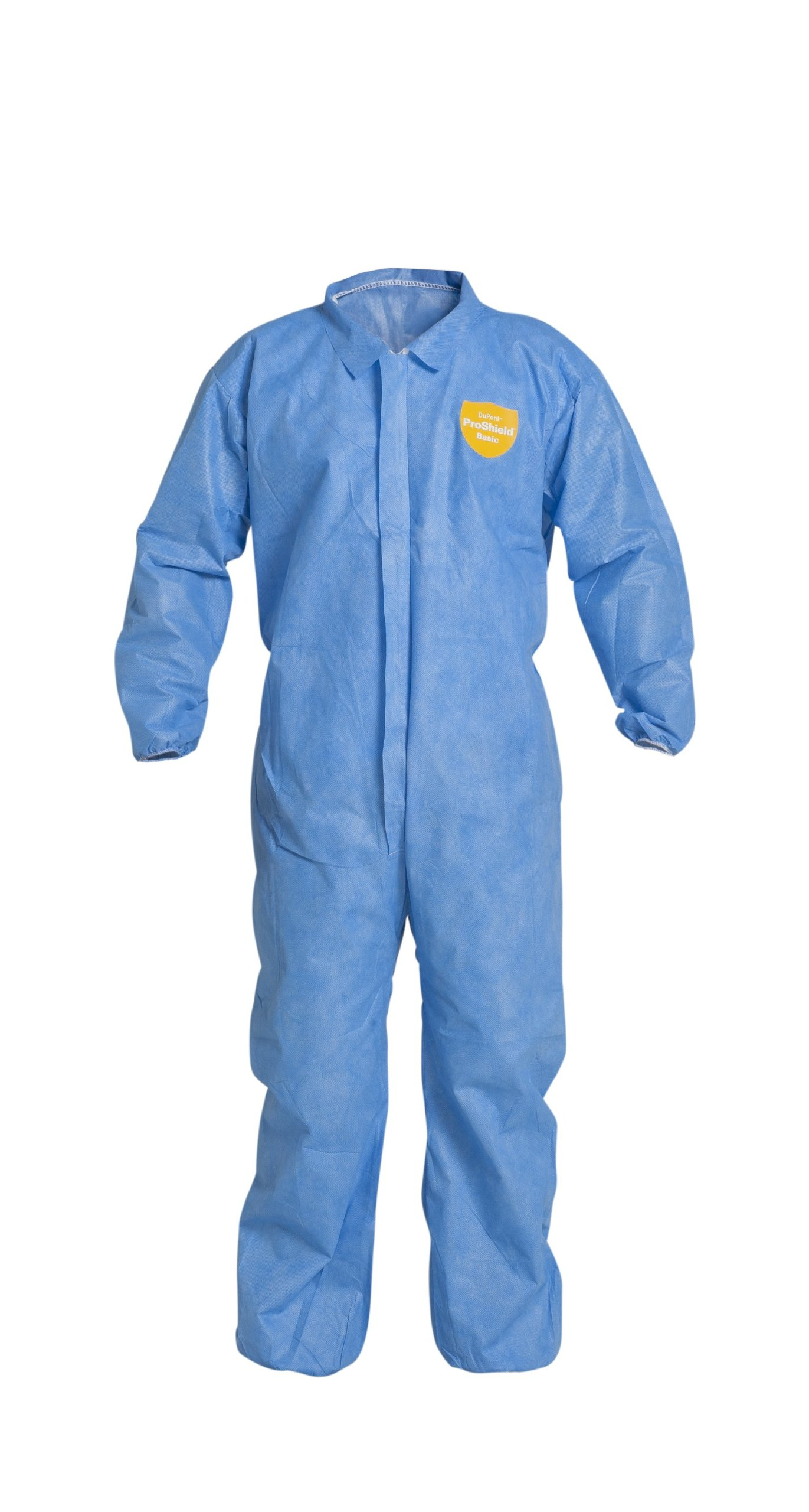 DuPont ProShield 10 PB125S Protective Coverall with Serged Seams, Disposable, Elastic Cuff and Ankles, Large, Blue (Pack of 25)