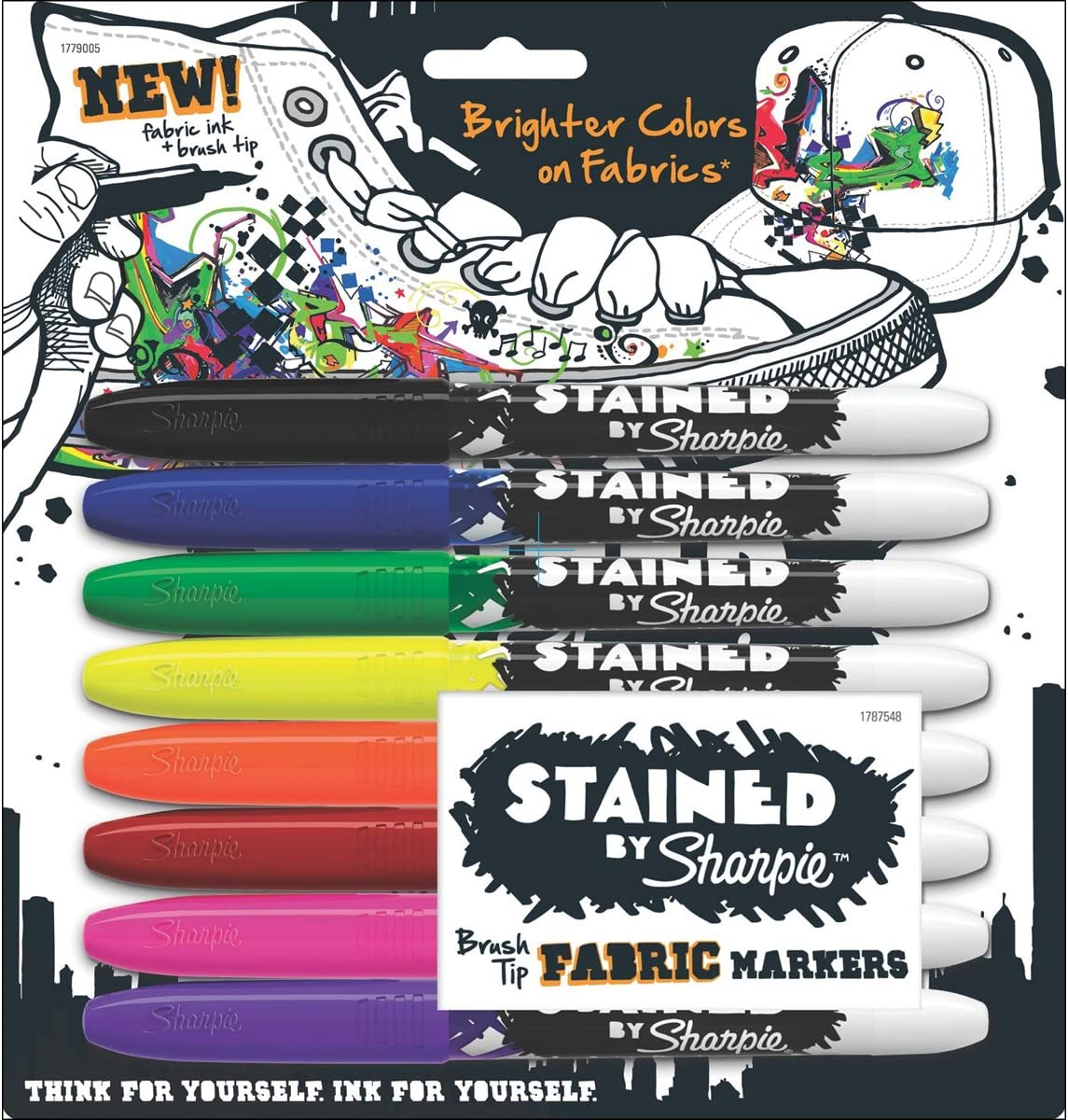 Sharpie 1779005 Stained Fabric Markers, Brush Tip, Assorted Colors, 8-Count