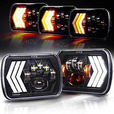 OVOTOR 7x6 LED Headlights 55W Square 5x7 inch Headlights with White&Amber Arrow DRL Dynamic Sequential Turn Signal for Jeep Wrangler YJ Cherokee XJ Toyota GMC Trucks H6054 H5054 H6054LL: Automotive