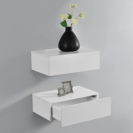 en.casa Wandregal mit Schublade Weiß Hängeregal Wand Regal Ablage Schrank