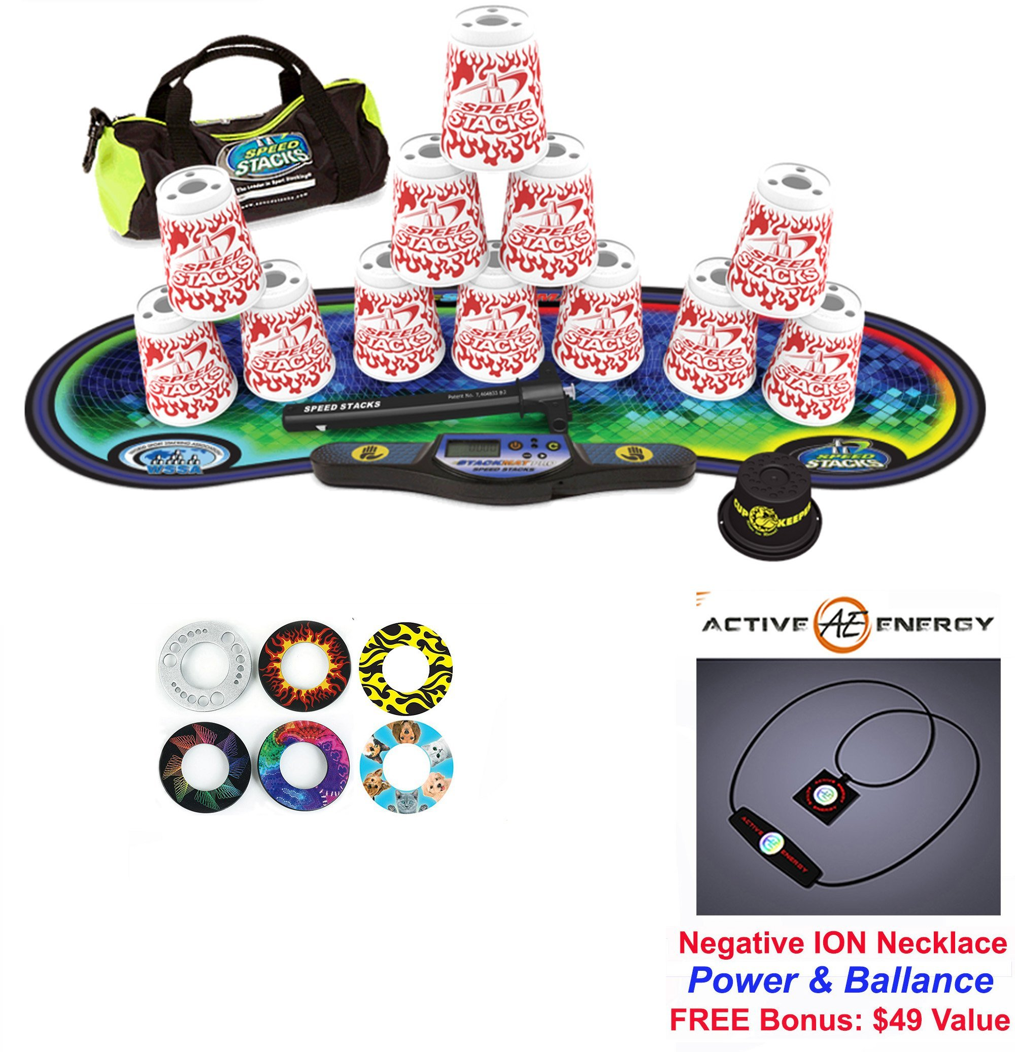 Speed Stacks Custom Combo Set - The Works: 12 WHITE FLAMES 4'' Cups, Cup Keeper, Quick Release Stem, Pro Timer, Gen 3 Premium VOXEL GLOW Mat, 6 Snap Tops, Gear Bag + FREE: Active Energy Necklace $49