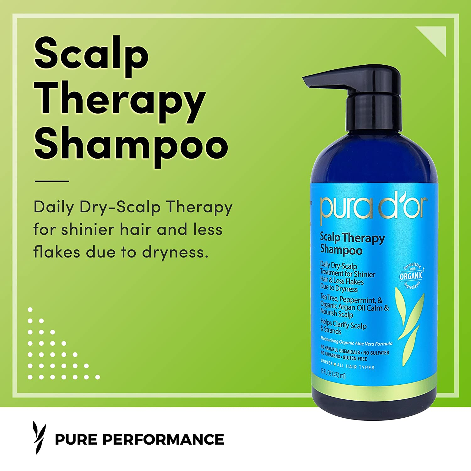 PURA DOR Scalp and Dandruff Therapy Shampoo with Argan Oil ...