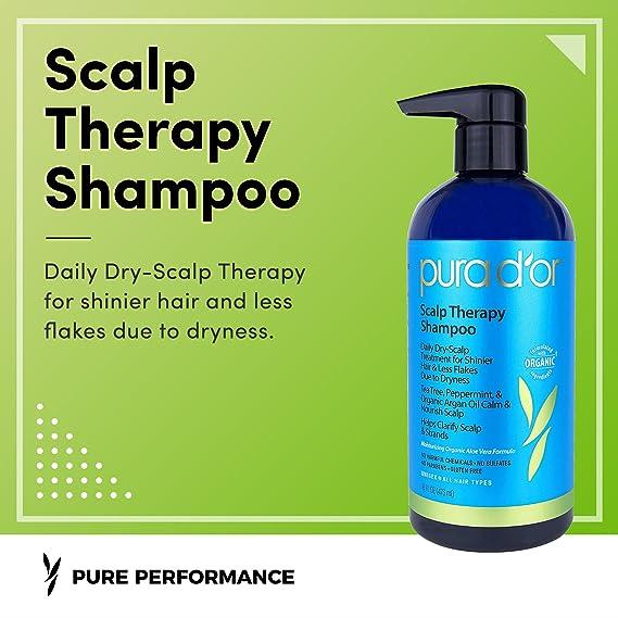 PURA DOR Scalp and Dandruff Therapy Shampoo with Argan Oil and Tree Tea, 16 fl. oz by PURA DOR: Amazon.es: Belleza