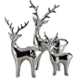"Pure.Lifestyle - 14.5""&11.25""&8.75"" Reindeers(Set of 3) - Electroplated Polished Chrome Silver Ceramic Decoration Animals Figurine Milu Deers Porcelain Sculptures Elks Statues Moose"