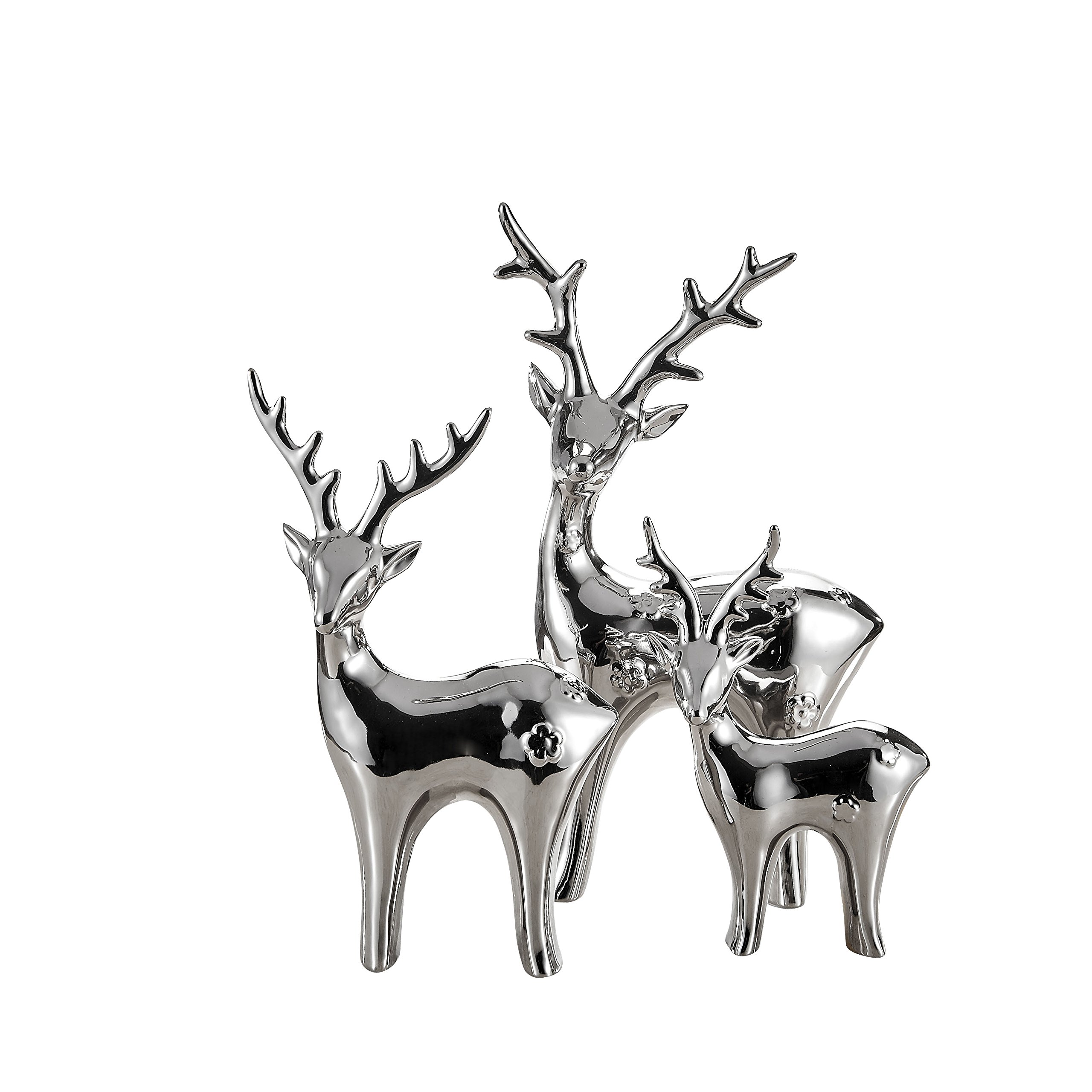 Pure.Lifestyle Reindeers Electroplated Polished Chrome Ceramic Decoration Animals Figurine Milu Deer's Porcelain Sculptures Elks Statues Moose, Silver