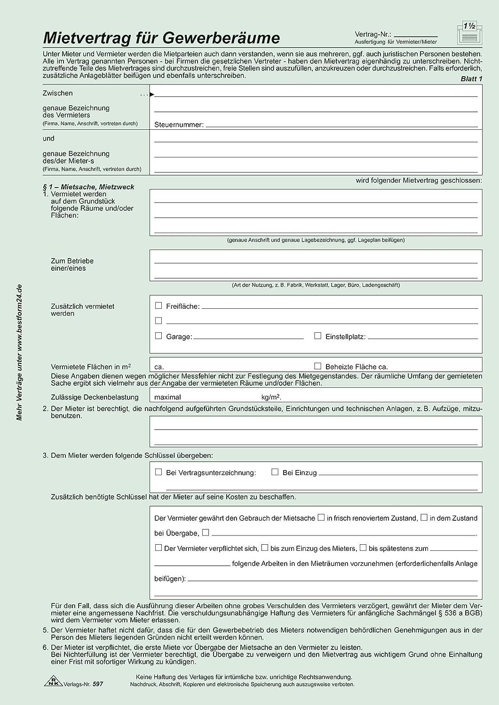 Gewerberaum-Mietvertrag Rnk 597: Amazon.de: Bürobedarf & Schreibwaren