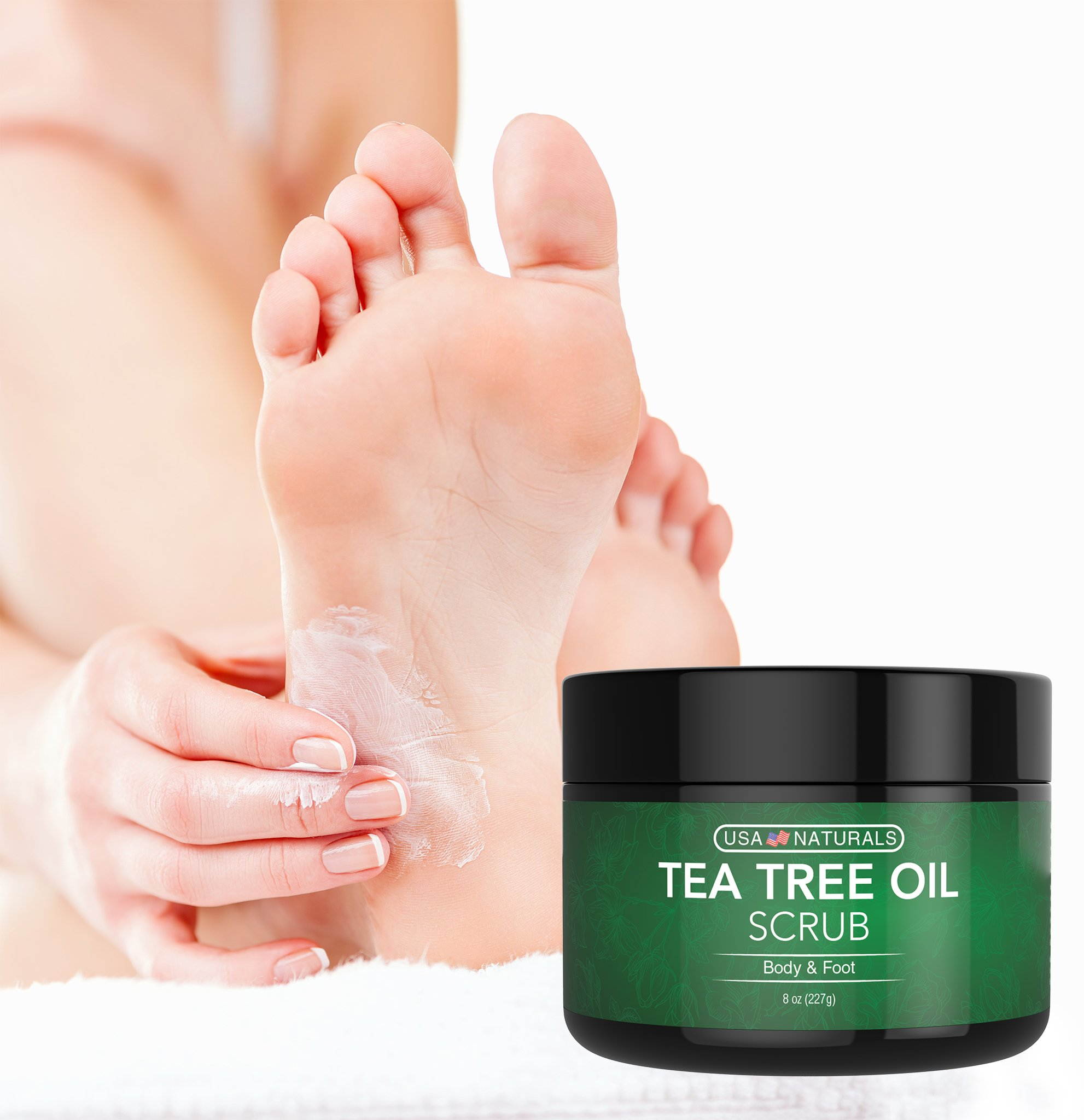 Tea Tree Oil Foot and Body Scrub - Antifungal Treatment - Exfoliating Scrub with a Unique Blend of Essential Oils - Smooths Calluses - Helps With Athlete's Foot, Acne, Jock Itch & Dead, Dry Skin by USA Naturals (Image #8)