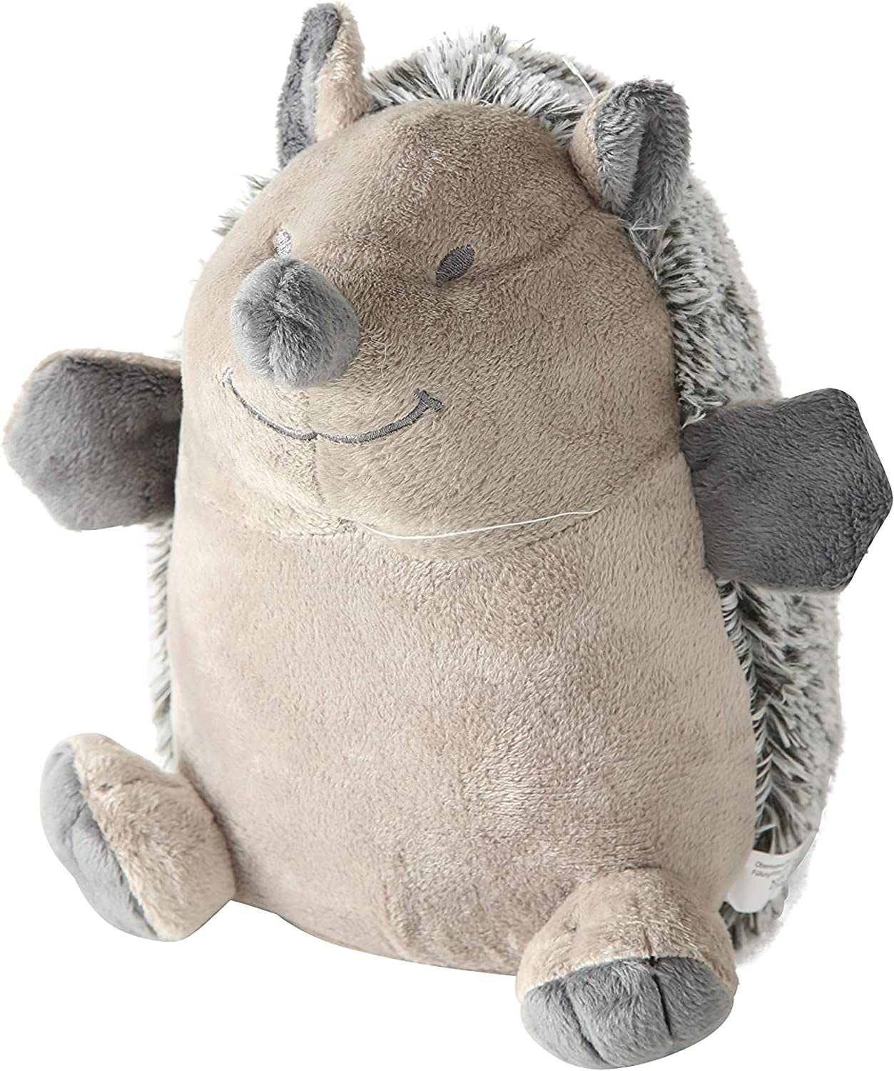8 3//4 Diameter x 9 1//2 Inches Tall Plush Covered Gray Happy the Hedgehog Door Stopper Chubby Sand Filling Embroidery Smile and Eyes Weighted 2 Pounds Beige Polyester Paw Details Furry