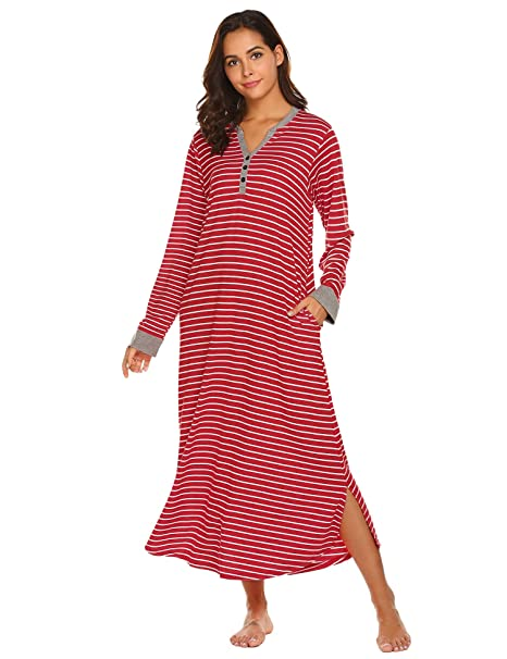 Ekouaer Womens Hooded Sleep Dress Long Sleepwear Casual Nightgown ... a47570ac9