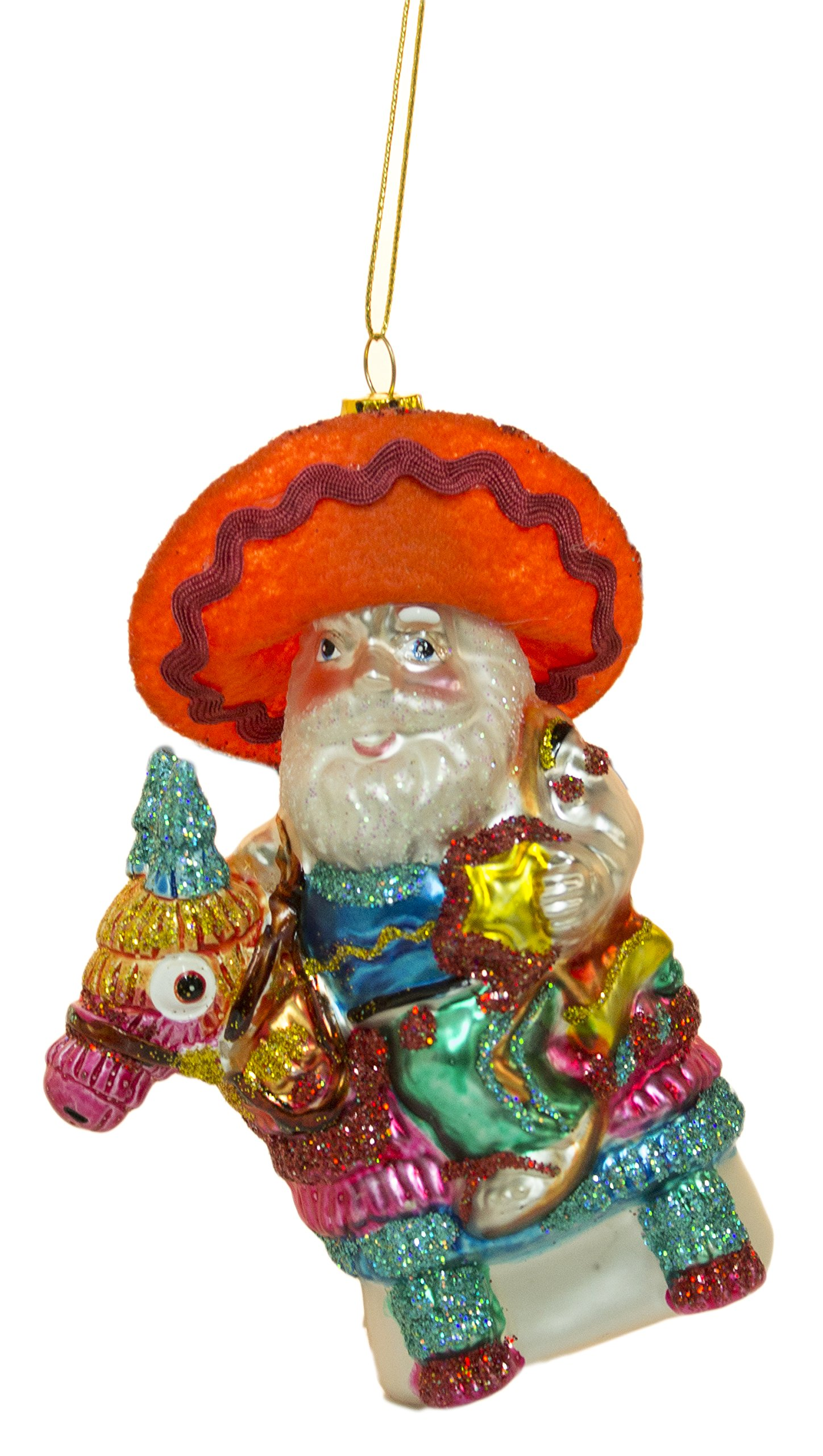 5 Inch Blown Glass Santa On Pinata Christmas/ Everyday Ornament