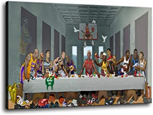The Last Supper Basketball Player Wall Art Jordan O'Neill James Durant Ko-be Bryannt Posters Modern Home Decor Canvas Painting HD Pictures Print Stretched and Framed Ready to Hang [18''W x 12''H]