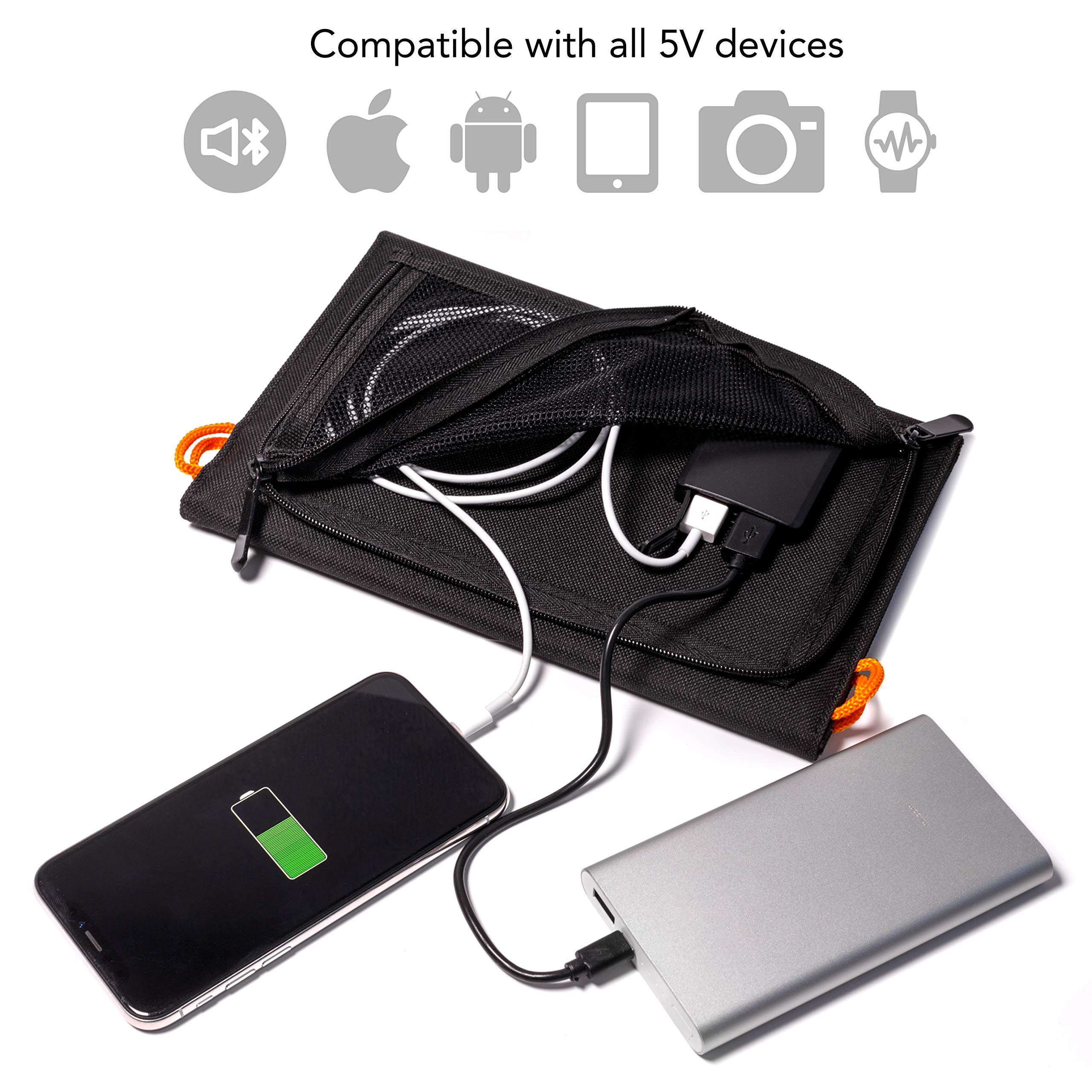 Portable Solar Charger 10W - Dual USB Solar Panel Foldable – Best Power for, iPhone, X, 8, 7, 6s, iPad, Cell Phone Android & Electronic Devices - Waterproof Sun Phone Charger for Camping & Hiking by VARAKU (Image #2)