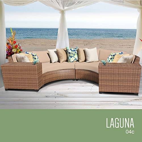 TK Classics LAGUNA-04c-WHEAT Laguna 4 Piece Outdoor Wicker Patio Furniture Set