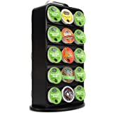 Single Serve Capsule Stand Cast Iron Revolving Storage Rack 30 Capacity Coffee Pod Holder for K-Cup (Black)