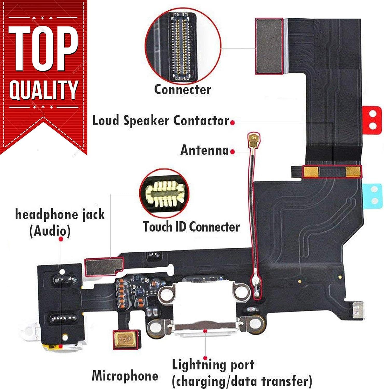 Puerto de Carga USB Flex Cable W Mic Antena para iPhone Se 5S 6 6S Plus