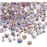 3456 Pezzi Strass per Unghie Cristalli AB Strass Rotondo Perle Vetro Posteriore Piatto Pietre Preziose, 6 Formati per Unghie Decorazione Mestieri Occhio Scarpe da Trucco (Cristallo AB, Misto SS4 5 6 8 10 12)