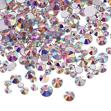 3456 Piezas de Cristales AB de Uña Diamantes de Imitación de Arte de Uña Cuentas Redondas