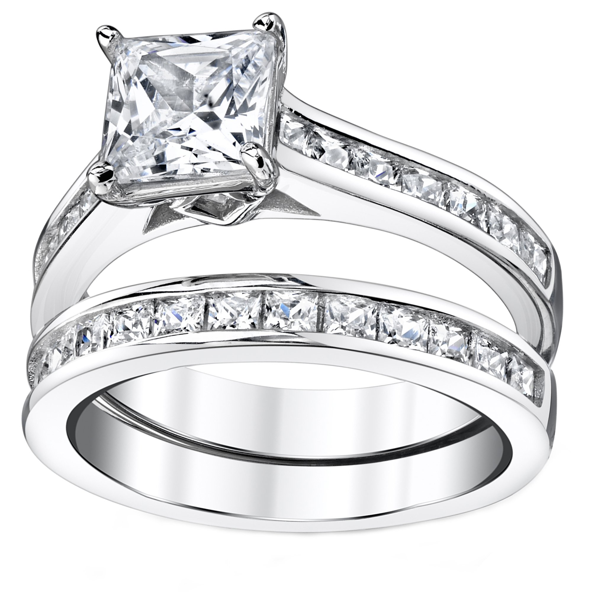 Sterling Silver Princess Cut Bridal Set Engagement Wedding Ring Bands With Cubic Zirconia Size 7 by Bonndorf (Image #2)