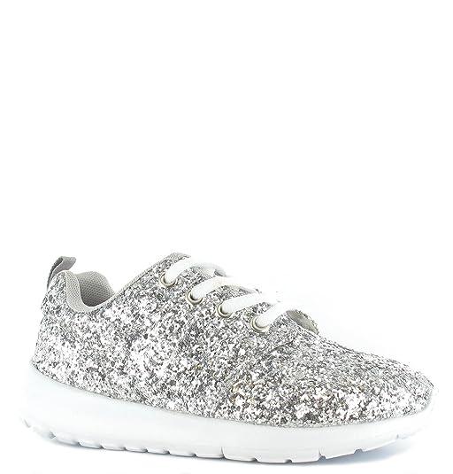 SHUMAD Glitter Trainers - Zapatillas Para Niña, Color Plateado, Talla 27,5 EU